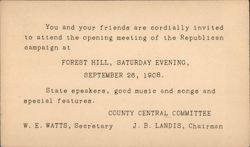 Republican campaign opening meeting invite. September 26, 1908 Postcard