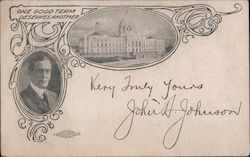 John A. Johnson. One good term deserve another. Signed Postcard