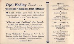 Opal Hadley presents Interesting personalities of San Francisco Postcard