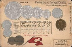 Postkarte mit Nationalflagge. Schweiz. Money value table and flag Postcard