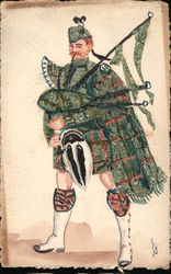 Bagpiper Stamp Montage Postcard