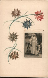 Art made of postage stamps: flowers and nun with children Postcard