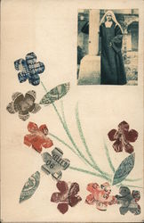 Cut Stamp Flowers and a Nun Postcard