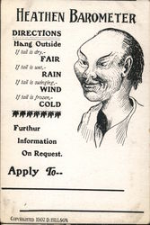 Heathen Barometer. Directions Hang outside with drawing of Asian heathen. Postcard