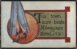 This town sure beats Milwaukee for Schlitz Postcard