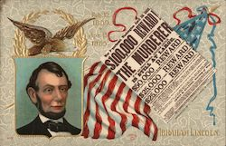 Abraham Lincoln, flag, newspaper $100,000 reward Postcard
