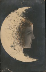 Woman in crescent moon Postcard