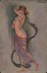 Drawing of a topless woman with Snake Postcard