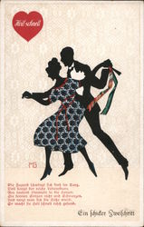 Silhouette couple dancing, text in German Postcard