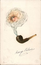 Portrait of blond girl from smoke from pipe. George Palmer Postcard