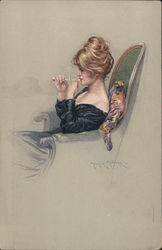 Woman sitting in chair smoking. Maurice Milliere Postcard