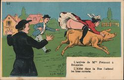 L'arrivee de Mlle Fremont a Bruxelles (The Arrival of Miss Fremont at Brussels) Postcard