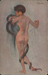 La Femme et Le Serpent (The Womand and the Snake) by S. Meunier Postcard
