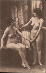 naked women holding hands Postcard