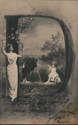Letter D with woman, photographer taking picture of young girl Postcard