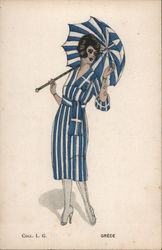 Woman with blue and white striped dress and umbrella. Grece Postcard