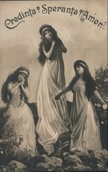 Credinta Speranta Amore. Three muses of faith, hope and love Postcard