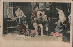 Women in dressing room Postcard