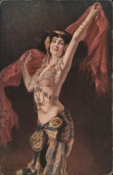 Belly dancer brunette in jeweled bra and red veil Postcard