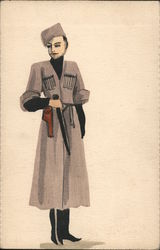 Military woman with weapons (painting) Postcard