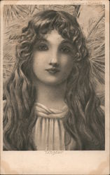 Winter. Long haired woman in white Postcard