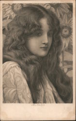 A GIrl With Long Flowing Hair Postcard