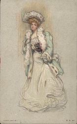 Drawing of blonde woman in full white gown, green jacket with white trim Postcard