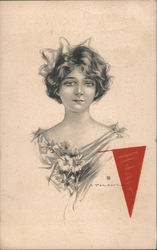 young woman with daisy bouquet red pennant Postcard
