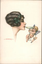 Woman sipping drink held by cupid Postcard