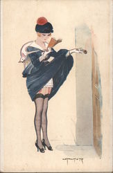 Distracted and Showing Her Undies - L.Peltier Postcard
