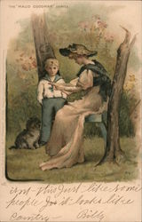 The Maud Goodman Series. boy and dog with woman reading on bench Postcard