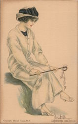 American Girl No. 16. Girl in sweater sitting with cane on knees Postcard