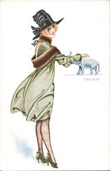 Lucky Charm Woman in green dress petting small elephant Postcard