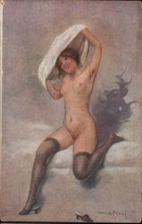 Woman with stockings taking dress off Postcard
