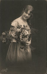 Woman with a bouquet of daisies Postcard