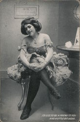 Lady In Low Cut Dress And Black Stockings Postcard
