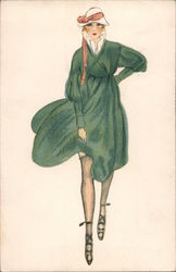 Woman in green dress showing stockings Postcard