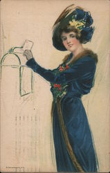 Woman in blue mailing letter Postcard