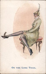 On the Long Trail - Long-Legged Woman With a Mouse on Her Shoe Postcard