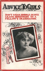 Advice to Girls: Don't wear hobble skirts Postcard