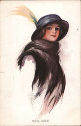 Well bred. Woman in black stole, hat with yellow feather Postcard