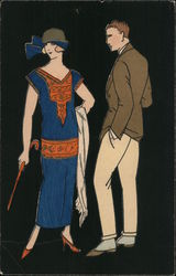 Art Deco Woman in blue dress and cane with man Postcard