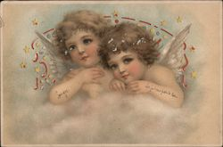 Little angels looking over a cloud Postcard