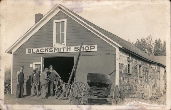 Blacksmith Shop, men and horse buggies Minnesota