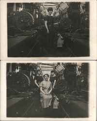 Lot of 2: Women Workers at Taylor Bramly Textile Mill Postcard