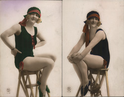 Set of 2: Flapper Art Deco Woman Swimsuit on Stepstool Postcard