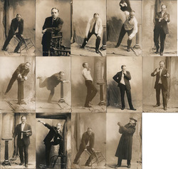 "Lot of 14: Billy Sunday Studio Photos ""Preaching Poses"" Postcard"