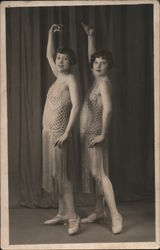 Two women dancers posing, in show costumes Postcard
