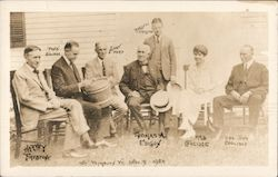 President Coolidge with Harvey Firestone, Henry Ford, Thomas Edison, Mrs. Coolidge, and Col. John Coolidge Postcard