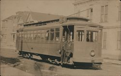 Ferry Street car and conductors, 1909 Postcard